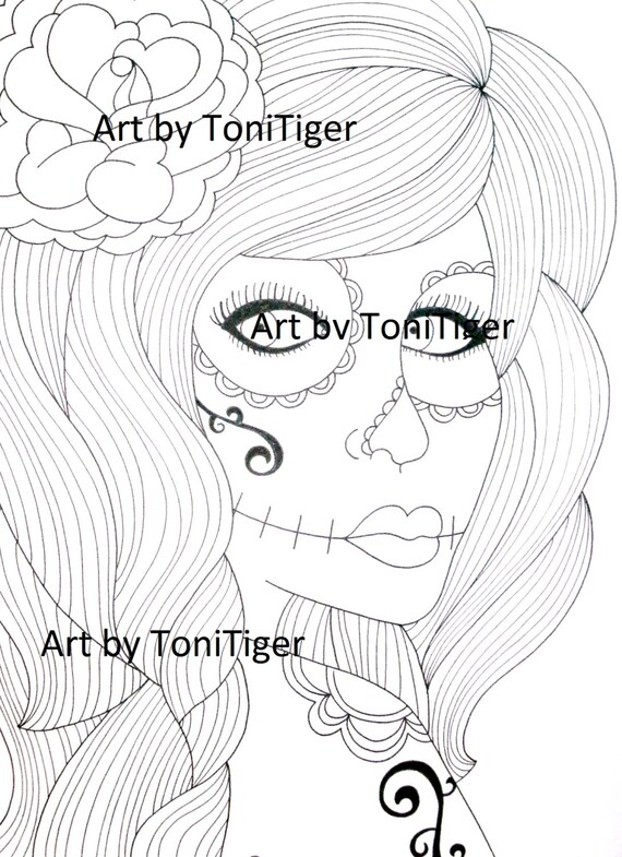 Sugar Skull Girl Page Instant Download Day Of The Dead Art