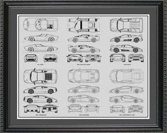 Lamborghini Blueprint Collection Drawing Art Car Auto Gift BLAMB2024