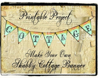NeW WHiMSiCaL CoTTaGe GaRLaND PaPeR FaBRiC BaNNeR make your own printable design Digital Collage Sheet shabby chic cottage decor