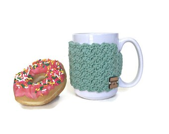 Mint Green Coffee Cup Cozy, Crochet Cup Cozy, Coffee Cup Sleeve, Coffee Sleeve, Stocking Stuffer