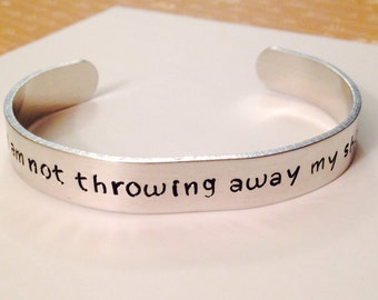 "Hamilton inspired Jewelry - Cuff Bracelet - ""i am not throwing away my shot"" - Aluminum - Hand Stamped - Broadway Musical Theater - Gift"