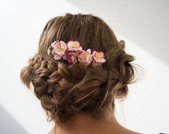 Pink and Burgundy Floral Hair Comb