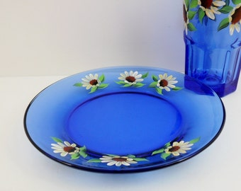 "Appetizer Dessert Salad Plates Hand Painted Cobalt Blue Yellow Daisies 8"" Set of 4"
