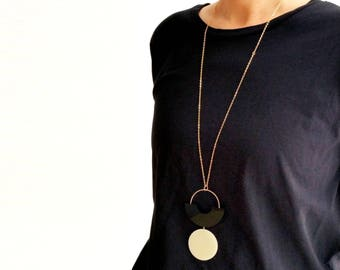 SHAPES PLAY NECKLACE | black necklace, circle, black and white, minimalist necklace, geometric, long necklace, modern, arch necklace |
