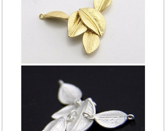 6 set of brass leave connecte charm pendant 25x15mm-1671-raw brass and matte silver