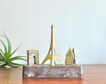 French vintage Paris souvenir / memorabilia 3 monuments: Eiffel Tower, Sacré Coeur, Arc de Triumph / France, French Gilt, Boho, Architecture
