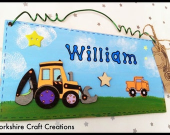 Digger Door Name Sign, Wooden Boys Bedroom or Playroom Plaque - Personalised
