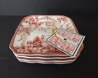 Set of 4 222 Fifth Adelaide Maroon Red Appetizer Plates New and Unused