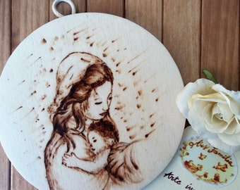 Wooden plaque with Mary and Jesus (maternity)-Pirografata
