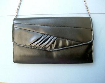 1980s Black Handbag Clutch Bag Purse with Rouched Design