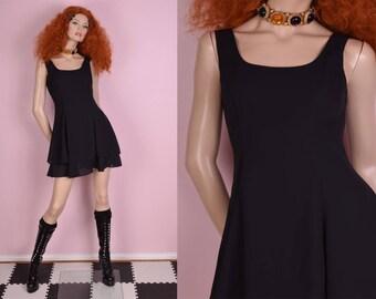80s Black Layered Mini Dress/ US 4/ 1980s/ Tank/ Sleeveless