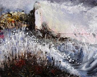 Lighthouse, original, sea,storm, painting, picture,art , print, ocean, nature, wind, rain, acrylic, gift