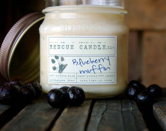 Blueberry Muffin Soy Candle / 8 oz. Glass Mason Jar / Donation to Animal Rescue included