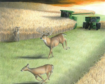 Deer Farm Tractor Art HARVEST RUN Original Artwork by Carla Kurt,