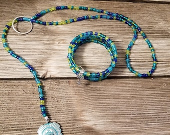 Blue Lariat Necklace and memory wire bracelet