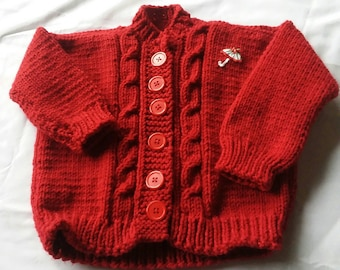 Hand Knit Baby Sweater 3-6Months