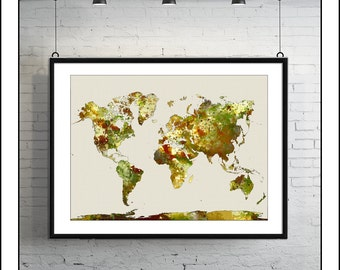 WORLD MAP, Map of the World, Large World Map, World Map Poster, World Map Print, Watercolor Map, Painted Map, Map Art, Painted Map No.4