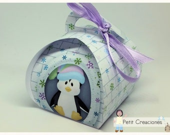 "PRINTABLE Curvy keepsake gift BOX ""Igloo Penguin"" DIY, treat box, place holder, gift idea for party"