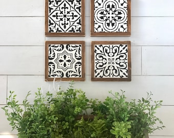 Set of 4 Spanish tiles mini wood signs | wall decor | farmhouse decor | rustic decor | fixer upper | Gallery wall decor