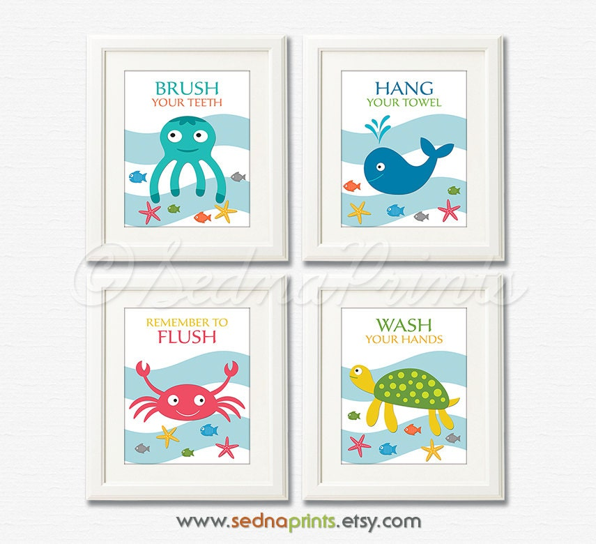 Bathroom art print set 8x10 kids bathroom wall decor for Bathroom decor rules
