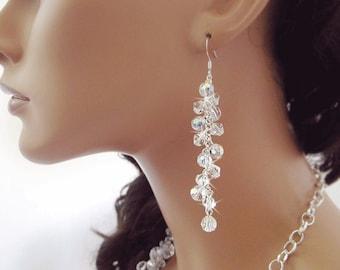Clear Swarovski Crystal Earrings, Clear Earrings, Crystal Earrings, Bridal Earrings, Wedding Jewelry, Bridesmaid Earrings
