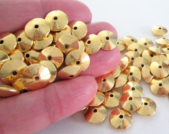Gold Rondelle Coin Spacers - Smooth Thick Round Bead - Plain Center Drilled Beadcap - Diy Findings - 43g.- 30 pcs - 11mm Bracelet Components