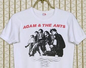 Adam Ant vintage T-shirt, white tee, punk rock, Adam and the Ants, Siouxsie Banshees, Billy Idol, The Cure, Duran Duran, Culture Club