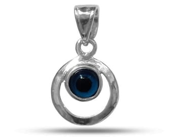 Circle Evil Eye Pendant In Rhodium Plated Sterling Silver - 20 x 10 mm