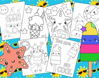 Summer Beach Coloring Pages - The Crayon Crowd, ocean, ice cream, birthday, party, party favors, Coloring book, Sheets, kids, pdf