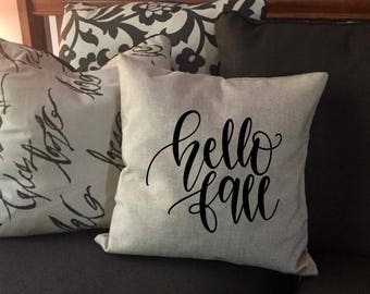Hello Fall - Rustic Pillow Cover - Fall Pillow Case