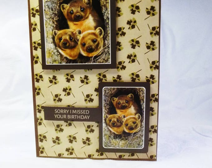 Pine Martins Card, Animal Card, Nature Card, Wildlife Card, Belated Birthday Card, Sorry I Missed Your Birthday, Male or Female, Any Age