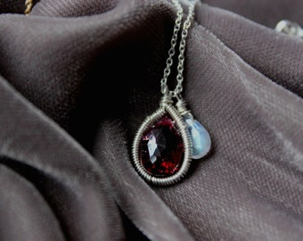 Marsala -Garnet Necklace Silver- Charm Necklace - Rainbow Moonstone - Delicate Necklace- January Birthstone