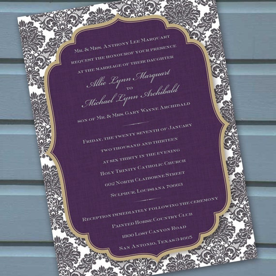 wedding invitations, wedding invitations and rsvp, wedding package, eggplant wedding invitations, plum wedding invitations, bridal shower