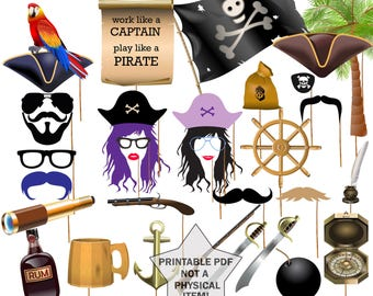 "Pirate Party Photo booth Props: ""PRINTABLE PARTY PROPS"" Photobooth Prop Birthday Party Photo Booth Prop Pirate photo props Party Photo Props"