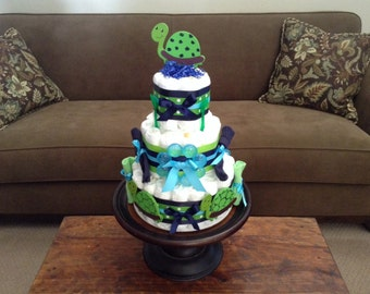 Turtle Diaper Cake Baby Shower Centerpiece Other Sizes, Toppers And Colors  Too