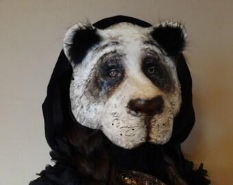 Halloween mask, Panda mask, Panda costume, Paper mask, Masquerade mask, Paper mache animal mask