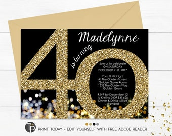 40th Birthday Invitation, Instant Download Invitations, Gold 40th Birthday Invitation, Gold Glitter 40th Invitation, Adult Invitation