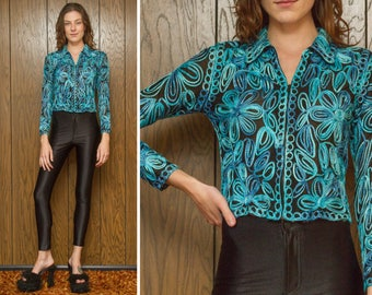 Vintage 90s RARE Sheer Mesh Black Teal Blue Green Ribbon Embroidered Flower Floral Textured Cover Zip Up Cardigan Sweater Blouse Top XS S