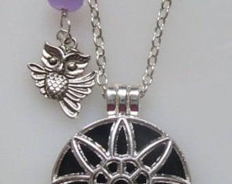 Fragrance Aroma Oil Diffuser Silver Flower Locket with Swarovski AB Crystal, Jade & Owl Charm, Wool Felt, Necklace on Chain, Choose Length
