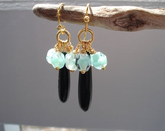 FINAL SALE Vintage Art Deco Jet Black Pendants and Iced Mint Green Givre Faceted Glass Bead Earrings