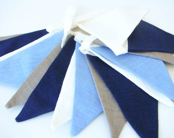 Fabric Flag Banner / Pennant / Bunting / Ivory White / Sky Blue / Taupe / Midnight Blue