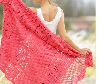 Crochet Poppy Fields blanket, afghan, made to order, lacy, light blanket, spring