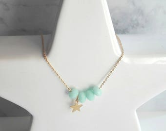 Necklace Maxence chain gilded in gold, mint and star charm swarovski pearls