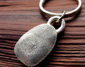 Fingerprint Key Chain Thumbprint  Keychain in Sterling Silver