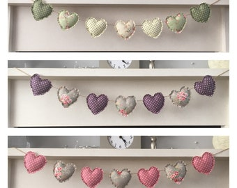 Heart garland/bunting shabby chic - green, pink or purple
