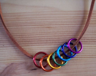 Leather Choker-Style Rainbow Pride