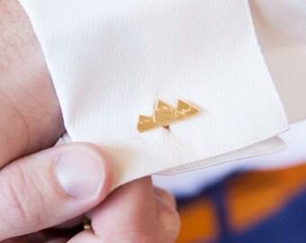 Gold-plated Teton Mountain Cufflinks