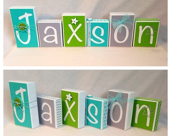 Aqua, Apple Green, Grey Jaxson personalized blocks