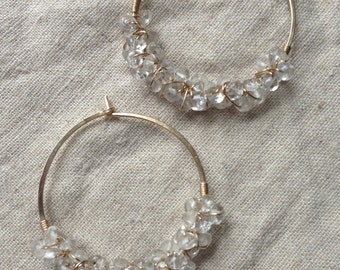 14 Karat Gold Fill Hoops with Quartz Crystal