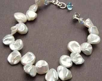 Keshi Pearl Bracelet, Petal Pearls Fine Ivory White, Sterling Silver Clasp, Adjustable, Blue Topaz, Bridal Bridesmaid Weddings Keishi